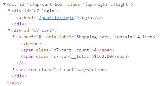 Floating cart HTML structure
